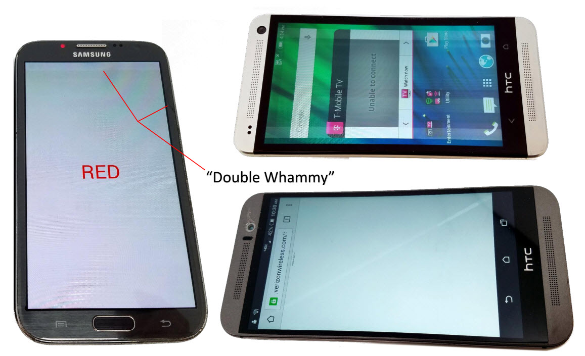 Power on, Bad LCD images of Wholesale Used Samsung Galaxy S4, HTC One M7, and HTC One M8 Smartphone phones