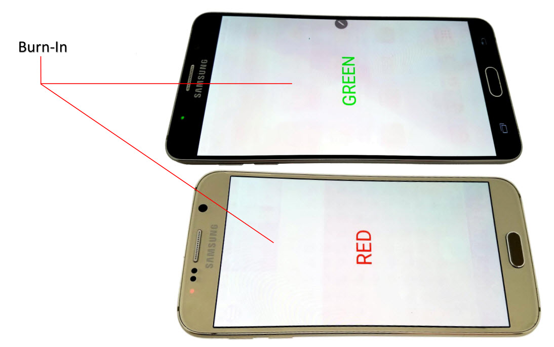 Power on, Flawed LCD images of Wholesale Used Samsung Galaxy note 5 and Samsung Galaxy S6 Smartphone phones